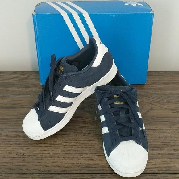 Adidas Superstar Navy Blue Suede 75